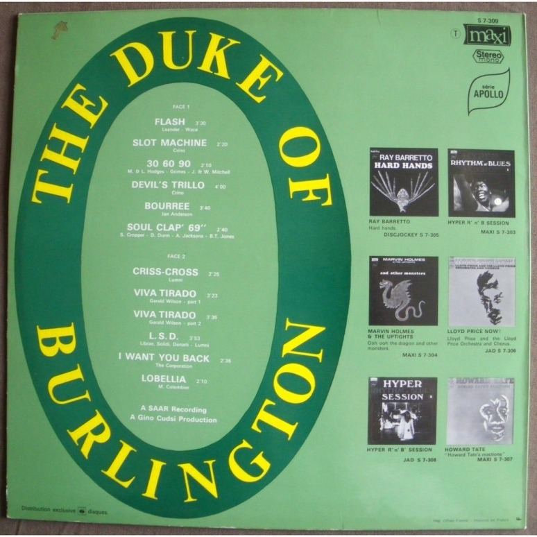 The Duke of Burlington back